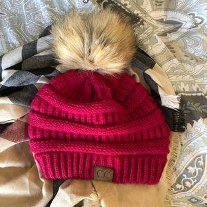 C.C Raspberry knitted hat with Pom Pom